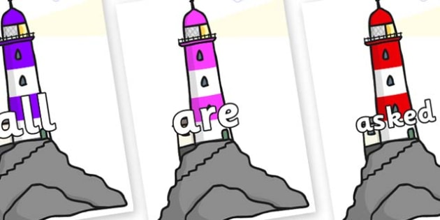 Tricky Words on Lighthouses - Tricky words, DfES Letters and Sounds, Letters and sounds, display, words