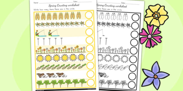 Spring Counting Worksheet - seasons, weather, count, counting