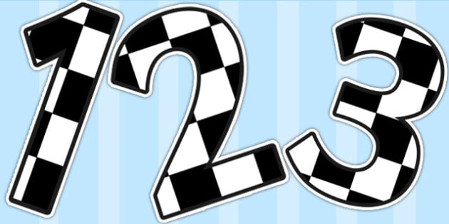 Black and White Checked Display Numbers - display numbers, black, white