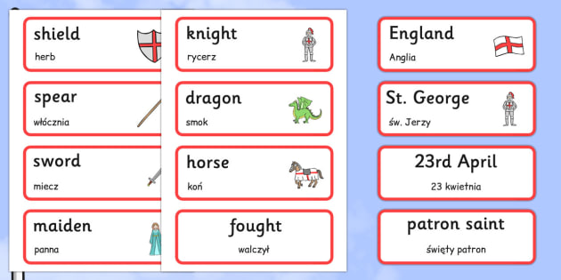 St George's Day Topic Cards Polish Translation - polish, Word cards, Word Card, flashcard, flashcards, St Georges Day, maiden, St George, patron saint, dragon, sword, England, fought, horse, English