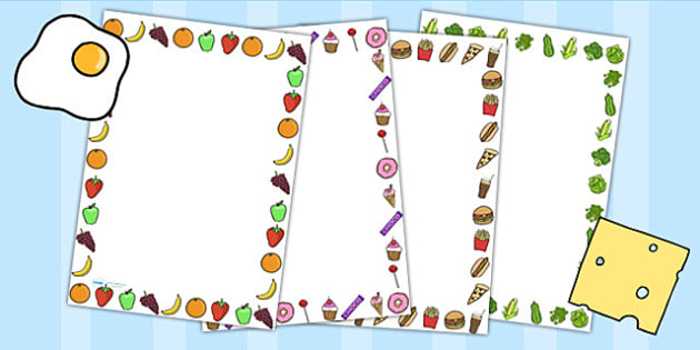 Food Themed Page Borders - food, writing aid, writing frame, eat