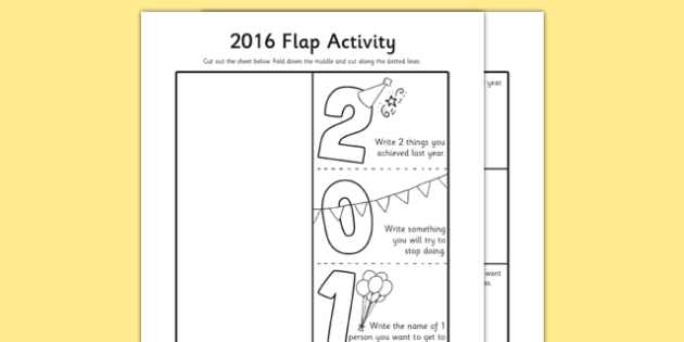 2016 Flap Activity - 2016, flap, activity, new year, resolutions, quit, know, learn, want