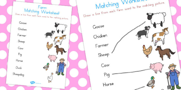 Farm Word and Picture Matching Worksheet - Farm, Word, Picture