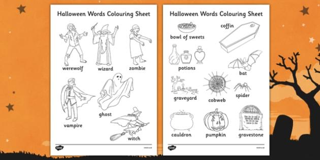 Halloween Words Colouring Worksheet - Halloween, Colour, Words