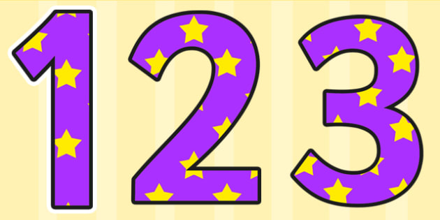 Purple and Yellow Stars Display Numbers - stars, display numbers, display lettering, numbers for display, cut out numbers, display letters, number, display