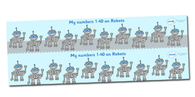 1-40 on Robots Number Strips - Maths, Math, number track, robot, Numberline, Number line, Counting on, Counting back, counting, robots