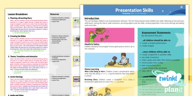 PlanIt - Computing Year 3 - Presentation Skills Planning Overview - planit, computing, planning, overview, presentation skills