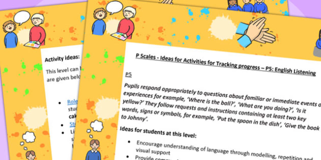 P Scales Ideas for Activities for Tracking Progress P5 English