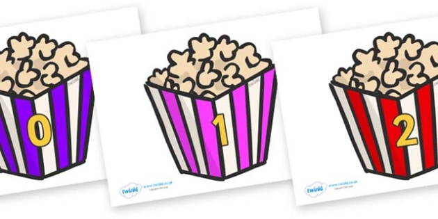 Numbers 0-50 on Popcorn - 0-50, foundation stage numeracy, Number recognition, Number flashcards, counting, number frieze, Display numbers, number posters