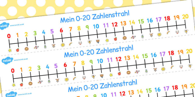 German Number Line 0-20 - german, number, line, 0-20, number line