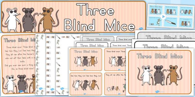 Three Blind Mice Resource Pack - nursery, rhymes, resources