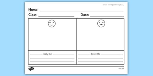Junior and Senior Infants Learning Survey - ireland, irish, organisation, questionnaire, maths, record, table, information, education