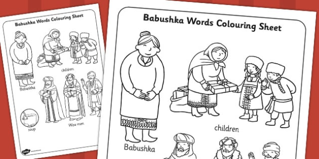 Babushka Words Colouring Sheet - babushka, colouring, sheet