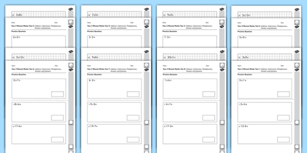 Year 2 Mental Maths Tests Assessment Pack