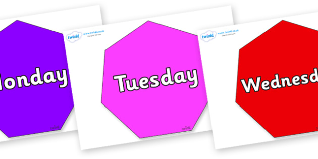 Days of the Week on Heptagons - Days of the Week, Weeks poster, week, display, poster, frieze, Days, Day, Monday, Tuesday, Wednesday, Thursday, Friday, Saturday, Sunday