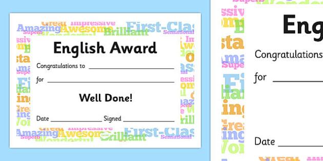 English Award Certificate - English Award Certificate, English, language, certificates, award, well done, reward, medal, rewards, school, general, certificate, achievement, England, skills, language skills