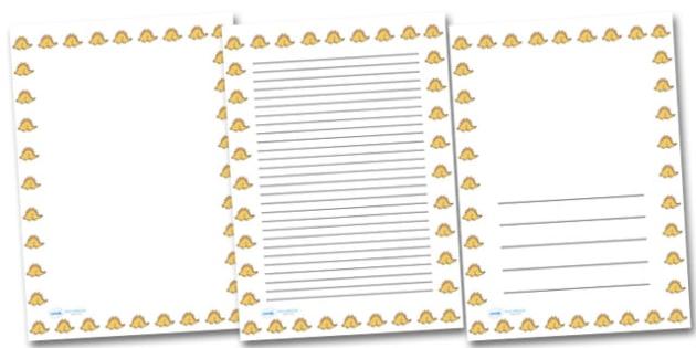 Cute Stegosaurus Portrait Page Borders- Portrait Page Borders - Page border, border, writing template, writing aid, writing frame, a4 border, template, templates, landscape