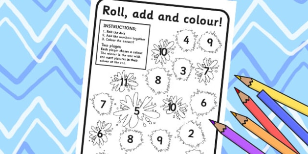 Splats Roll and Colour Dice Addition Activity - splats, addition