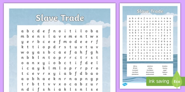 Slave Trade Word Search