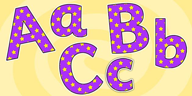 Purple and Yellow Stars Editable Display Lettering - purple, yellow, display lettering, display letters, lettering, display alphabet, lettering for display