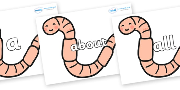 100 High Frequency Words on Earthworms - High frequency words, hfw, DfES Letters and Sounds, Letters and Sounds, display words