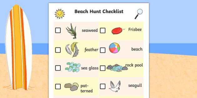 Beach Hunt Checklist - beach hunt, checklist, check, list, hunt
