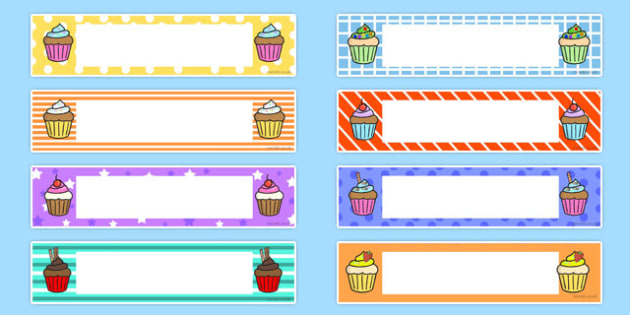 Cupcake Themed Editable Gratnells Tray Labels - labels, cupcake