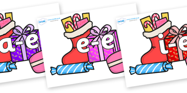 Modifying E Letters on Christmas Gifts - Modifying E, letters, modify, Phase 5, Phase five, alternative spellings for phonemes, DfES letters and Sounds
