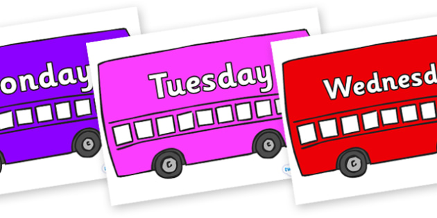Days of the Week on Buses - Days of the Week, Weeks poster, week, display, poster, frieze, Days, Day, Monday, Tuesday, Wednesday, Thursday, Friday, Saturday, Sunday