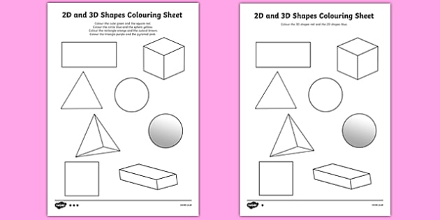 2D and 3D Shapes Colouring Sheets - 3D, 2D, 3D shapes, shapes names, colouring, fine motor skills, poster, worksheet, vines, shape recognition, shapes