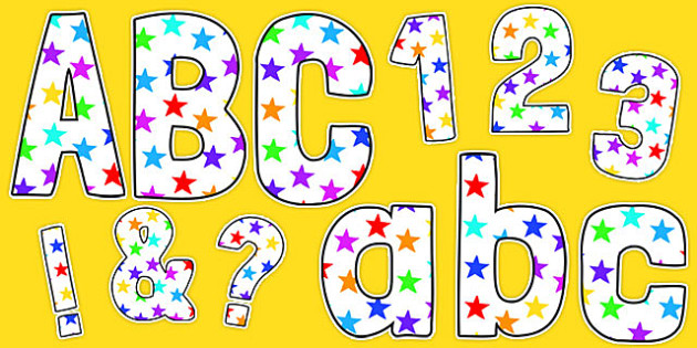 Funky Multicoloured Stars Display Lettering Pack - stars, letters, lettering, display, board