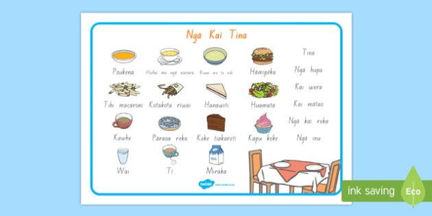 Ngā kai tina - Lunch Foods Word Mat