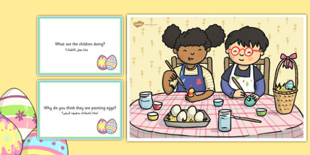 Egg Painting Scene and Question Cards Arabic Translation - arabic, egg painting, Easter, questions, comprehension pack