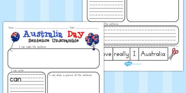 Winter Sentence Unscramble Worksheets - australia, winter, sheet