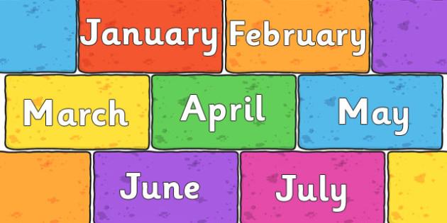 Months of the Year on Multicoloured Bricks - months, year, bricks