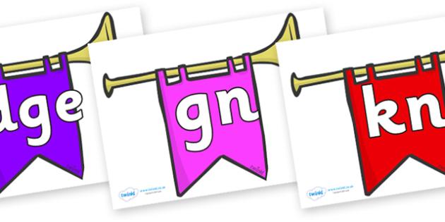 Silent Letters on Banners - Silent Letters, silent letter, letter blend, consonant, consonants, digraph, trigraph, A-Z letters, literacy, alphabet, letters, alternative sounds