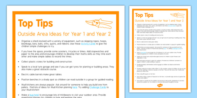 Outside Area Ideas for Year 1 and Year 2 Top Tips