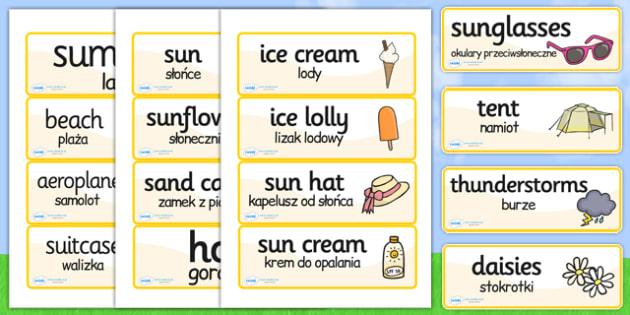 Polish Translation Summer Topic Word Cards - polish, word cards