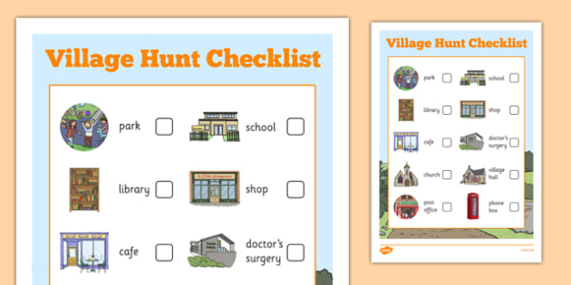 Village Hunt Sheet Checklist - village hunt, checklist, village, hunt, hunt checklist, activity