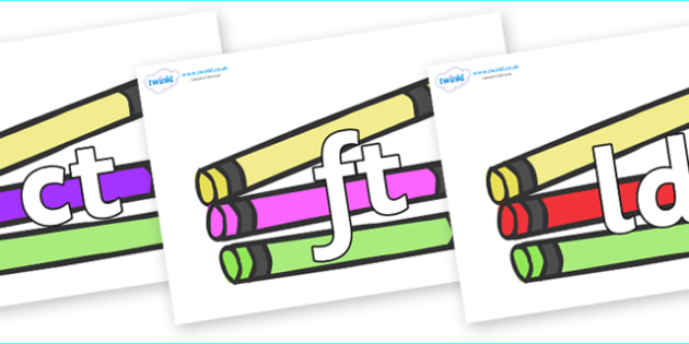 Final Letter Blends on Crayons - Final Letters, final letter, letter blend, letter blends, consonant, consonants, digraph, trigraph, literacy, alphabet, letters, foundation stage literacy