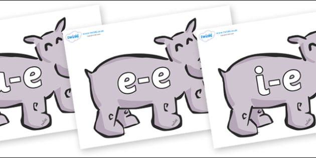 Modifying E Letters on Hippos - Modifying E, letters, modify, Phase 5, Phase five, alternative spellings for phonemes, DfES letters and Sounds