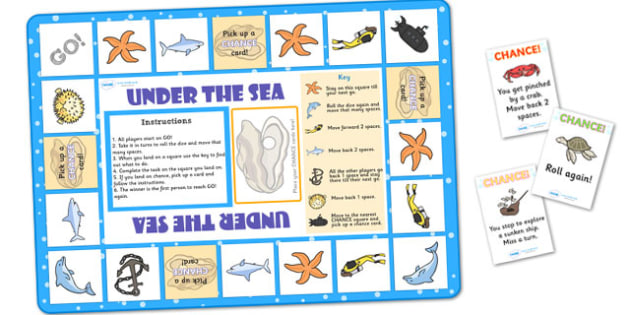 Under the Sea Themed Board Game - under the sea, under the sea board game, under the sea game, under the sea activity, under the sea theme game, board game