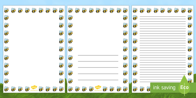 Bee Full Page Borders - page borders, bee page borders, bee borders for page, minibeast page borders, landscape, bee border, A4, border for page, lined