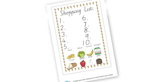 Shopping List - display lettering - Shopping Lists Primary Resources, page borders, frames, templates