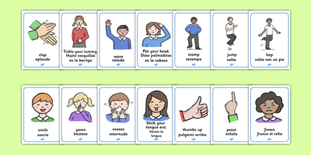Body Action Display Posters Spanish Translation - spanish, my body, body, body action, poster, display, ourselves, all about me, emotions, feelings, shout, clap, listen, see