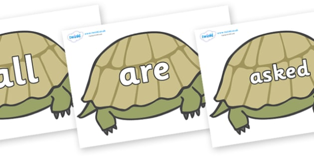 Tricky Words on Tortoises - Tricky words, DfES Letters and Sounds, Letters and sounds, display, words