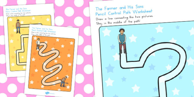 Farmer and His Sons Pencil Control Path Worksheets - australia