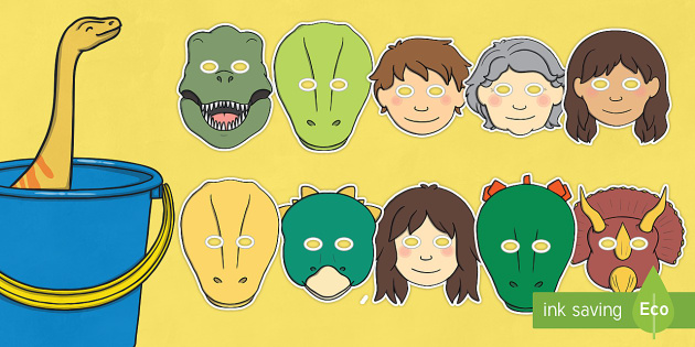 Role Play Masks to Support Teaching on Harry and the Bucketful of Dinosaurs - role play