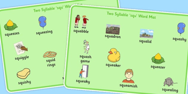 Premise Indicator Words: Two Syllable SQU Word Mats