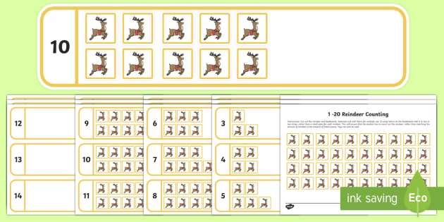 Workstation Pack: 1 - 20 Reindeer Counting Activity Pack
